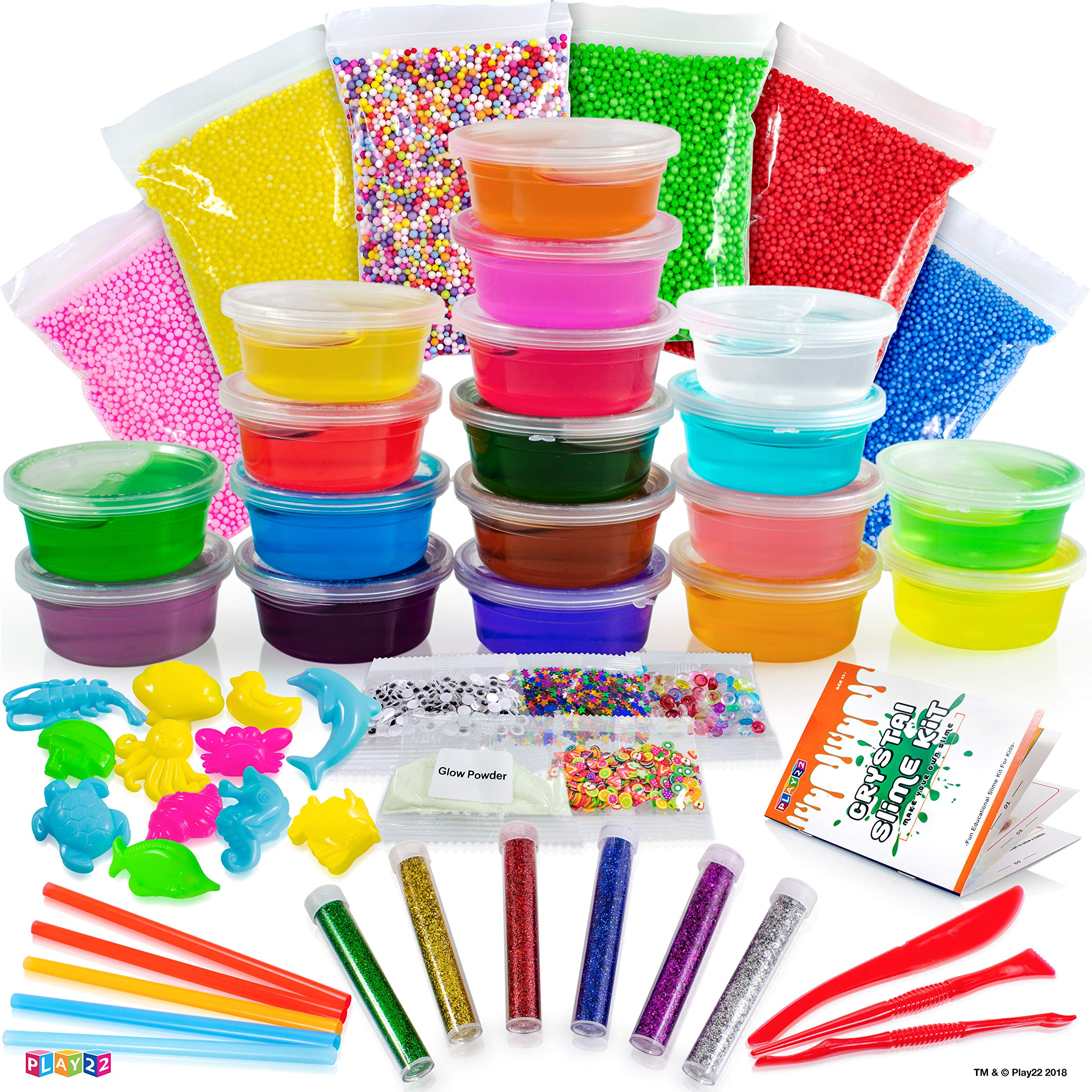 Play22 DIY Slime Kit for Kids - 18 Color Crystal Slime Making Kit, Includes Colorful Foam Balls, Fruit Face, Eyes, Stars, Glitter, Beads, Molds, Straws, Glow in Dark Powder and Much More - Original