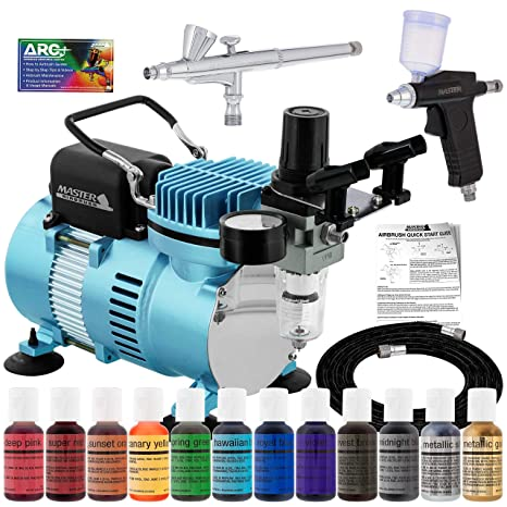 Super Deluxe 2 Airbrush Master Airbrush Cake Decorating Airbrushing System Kit With Set Of 12 Chefmaster Food Colors Gravity Feed Airbrushes Air