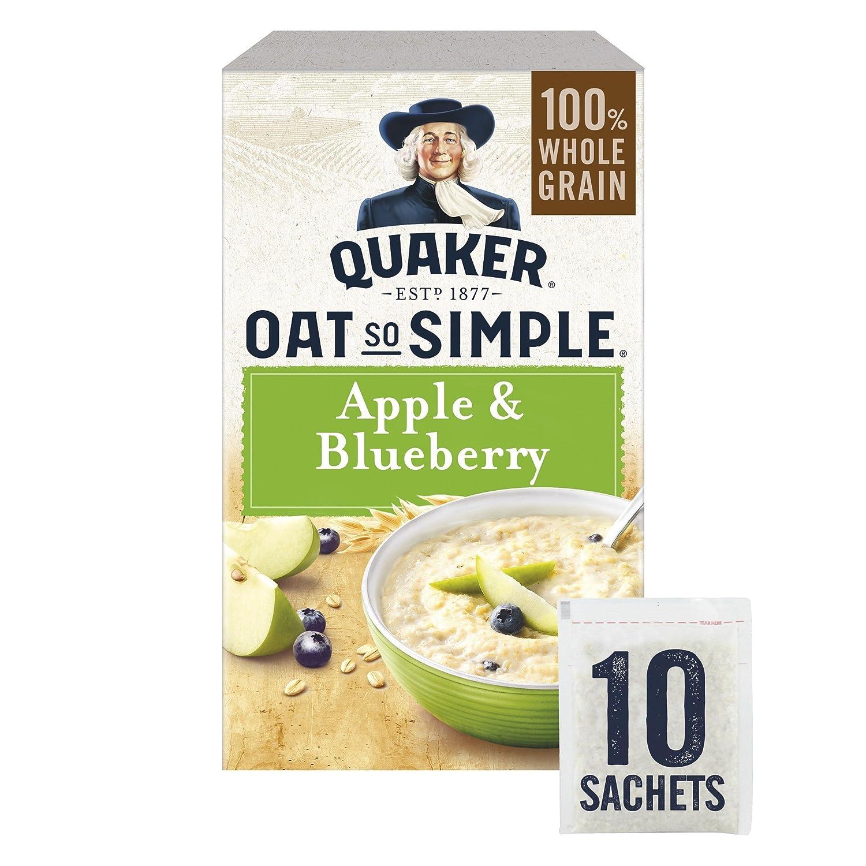 Quaker Oat So Simple Apple and Blueberry Porridge Sachets, 10 x 36 g (Pack of 6) WALFZ