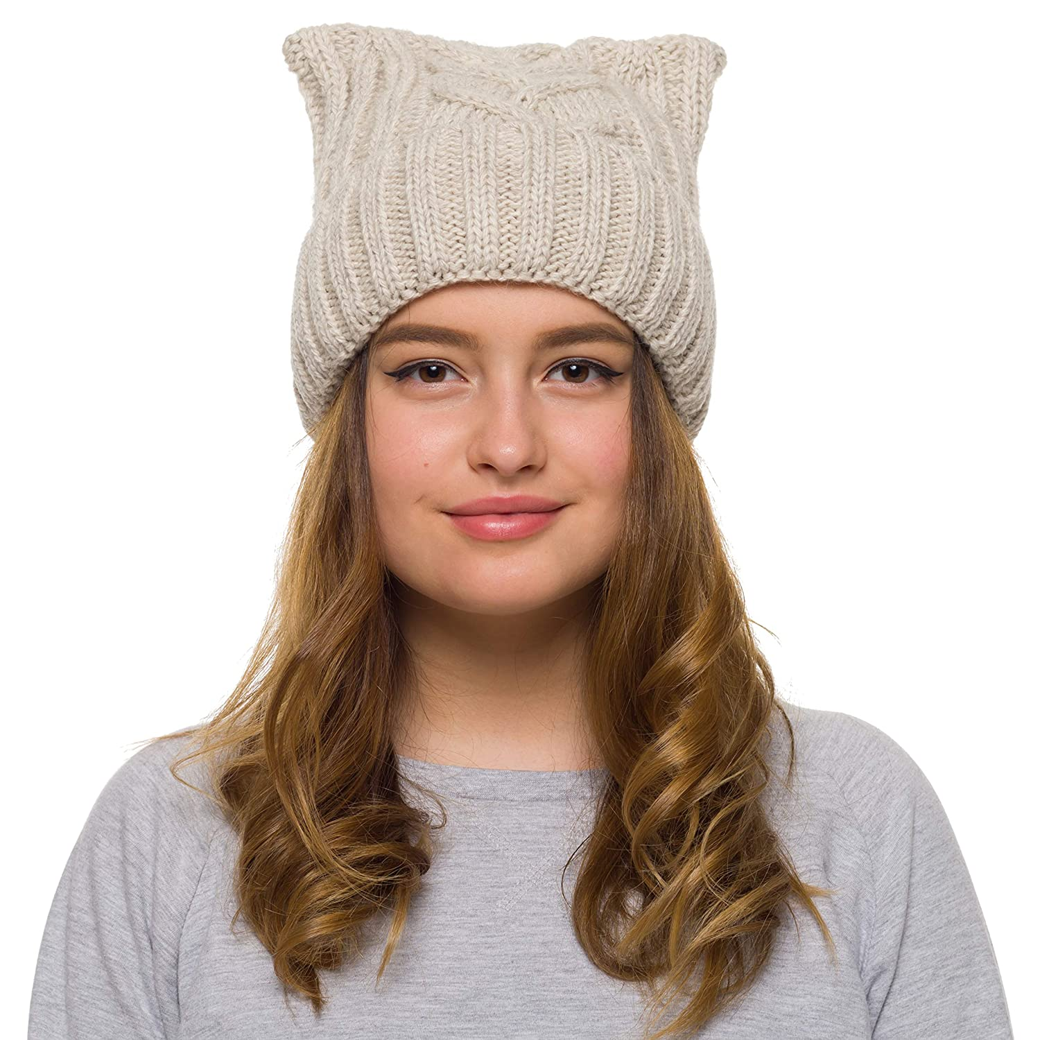 d072db138b2 Pussy Cat Hat Women`s March-Cat Beanie -Winter Hat for Women Lined with  Fleece (Beige) at Amazon Women s Clothing store
