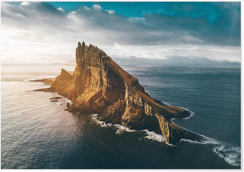 Panorama Póster Islas Faroe 70 x 50 cm - Láminas Decorativas Pared - Impreso en Papel 250gr - Cuadros Paisajes - Póster Naturaleza - Cuadros Decoración Salón