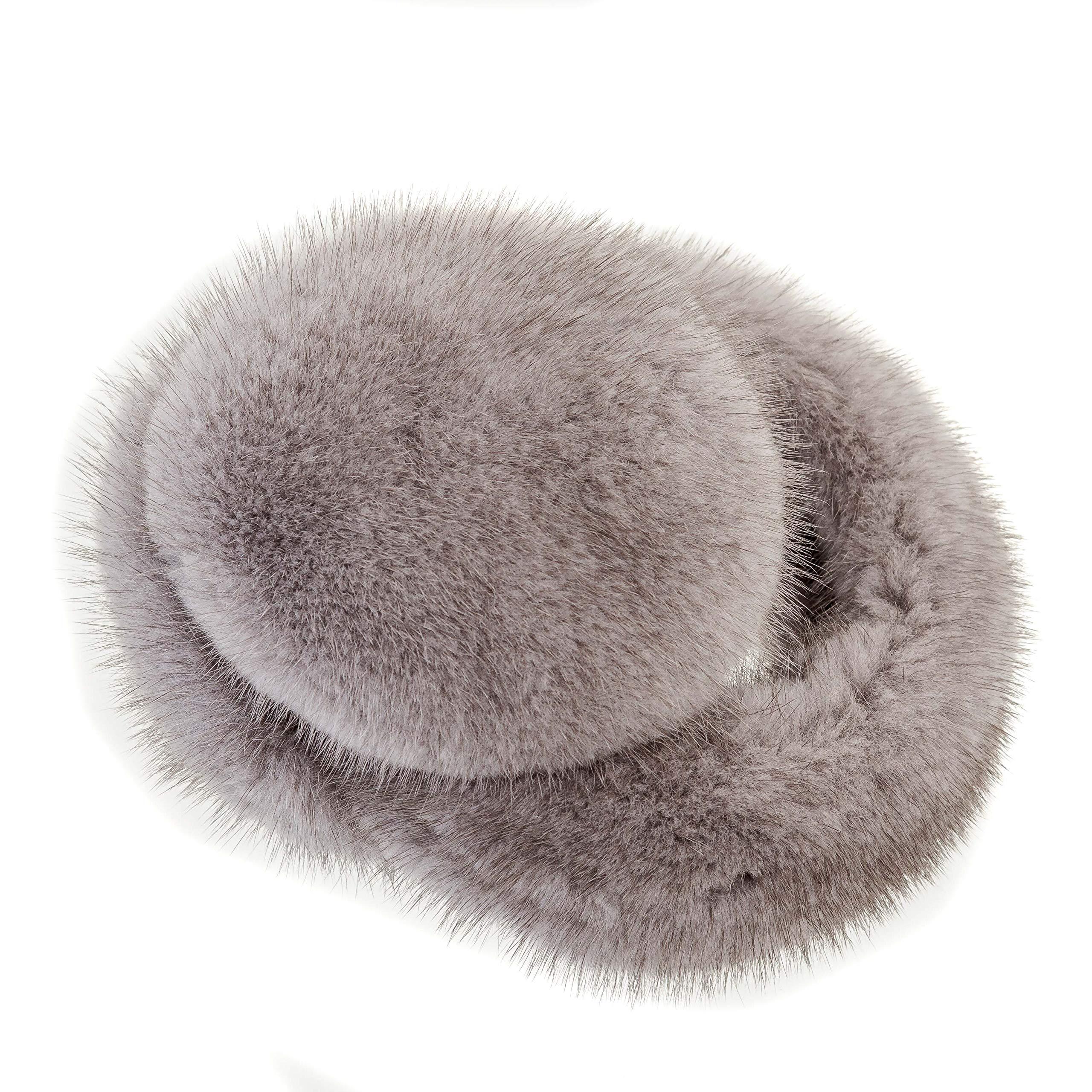 Surell Mink Earmuff with Fur Halo Band - Winter Ear Muffs - Cold Weather Fashion (Grey)