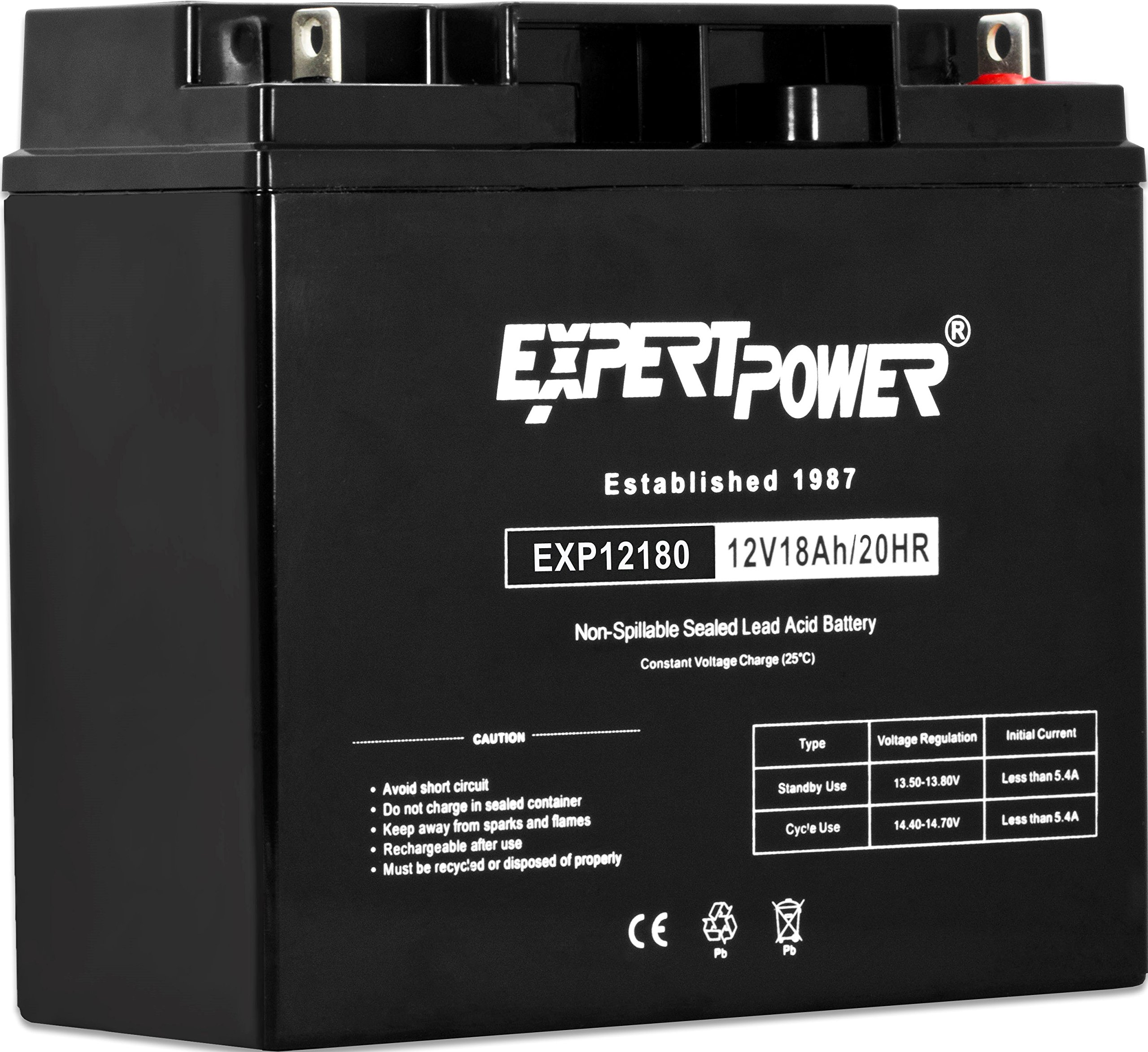 ExpertPower EXP12180 12 Volt 18 Ah Rechargeable Battery with Nuts and Bolts