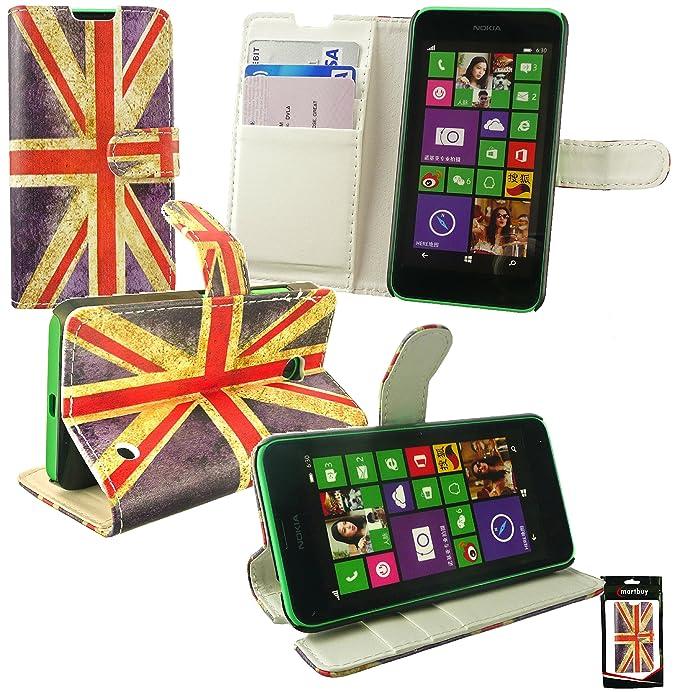 Emartbuy® Nokia Lumia 635 Premium PU Leather Funda Wallet Soporte Carcasa Case Cover PU Cuero Union Jack con Tarjeta de Crédito Slots