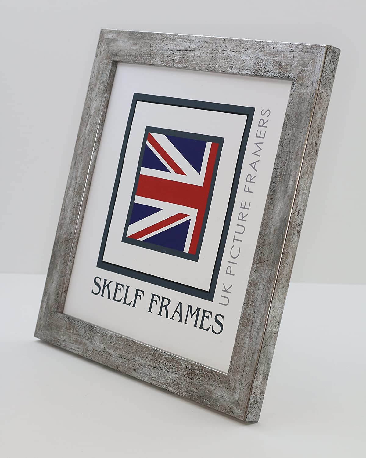 4 x 4 Skelf Frames Flat Antique Silver Wood Square Picture//Photo Frame With Glass