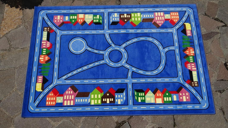 Kinderteppich Stadtmitte blau 160 x 240 cm