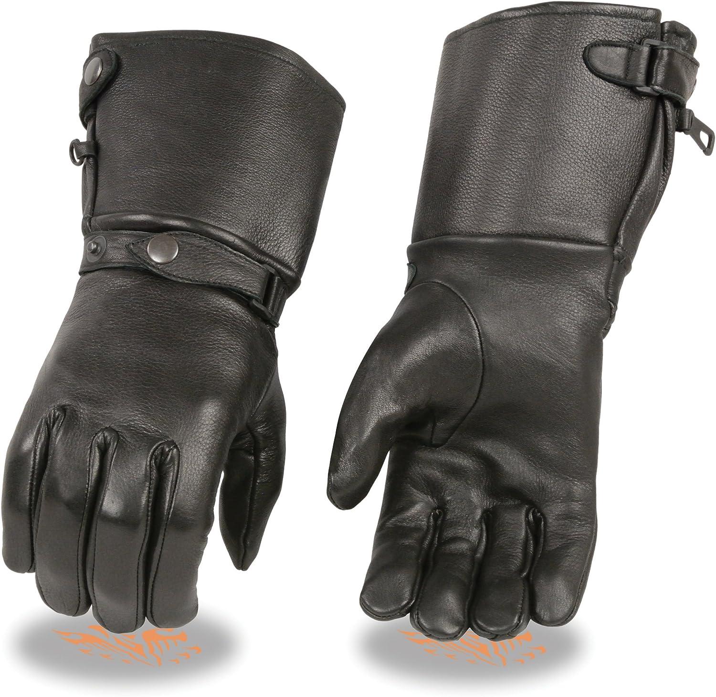 Mens Deerskin Thermal Lined Gauntlet Gloves w Snap Wrist /& Cuff Black, XL