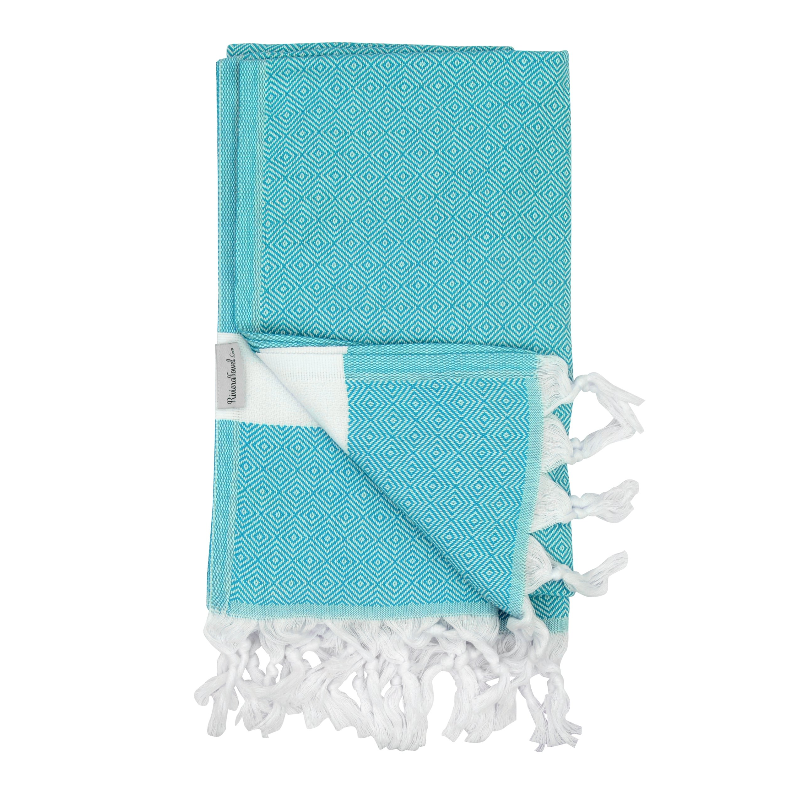 Turquoise Diamond Turkish Towel - Naturally Dyed 100% Cotton - 70x39 inches - Beach Bath Pool Yoga Pilates Picnic Blanket Scarf Wrap Hammam Fouta Turkish Bath Towels Peshtemal