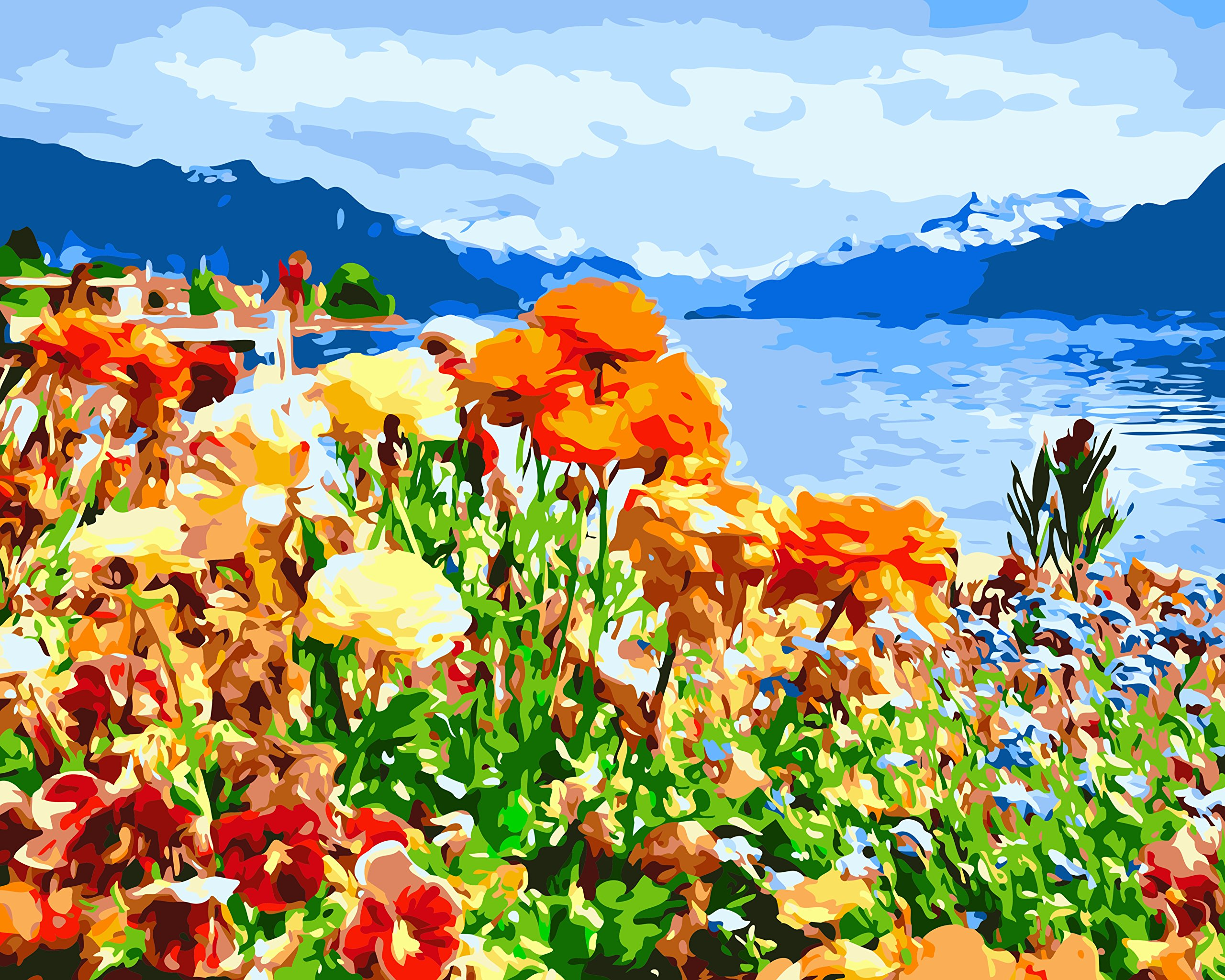 Wildflower Lake Paint by Numbers for Adults DIY Acrylic Painting Kit by MaileKai Creates, 16x20 inches, Wooden Framed Linen Canvas, 4 Professional Brushes