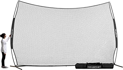 Amazon Com Powernet 16 Ft X 10 Ft Sports Barrier Net 160 Sqft Of Protection Safety Backstop Portable Ez Setup Barricade For Baseball Lacrosse Basketball Soccer Field Hockey Softball Black Sports Outdoors