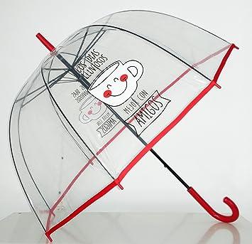 """Paraguas Transparente de Mujer. Paraguas Automático de Mujer con la frase """"Los días"""
