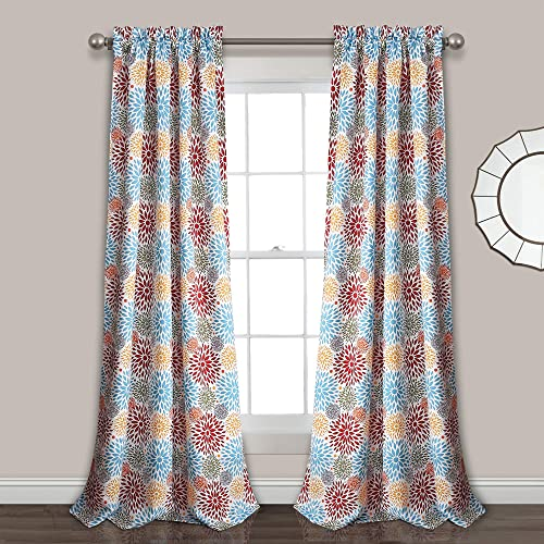 Lush Decor Blooming Flower Room Darkening Window Curtain Panel Pair 2""