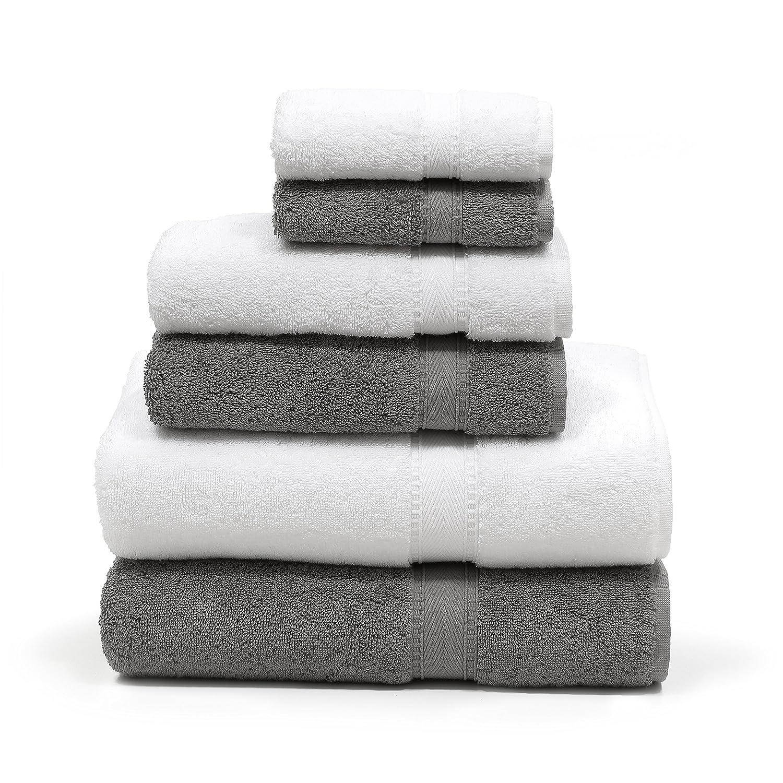 Linum Home Textiles 6 Piece 100% Turkish Cotton Sinemis Terry Bath Towel, Dark Grey/White SN96SN00-6C