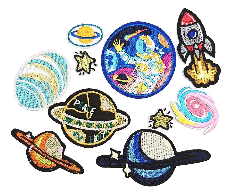 LilieCrea Pack de 10 /écussons Espace fus/ées NASA plan/ètes Patchs Enfants thermocollants /à Coudre ou /à Repasser