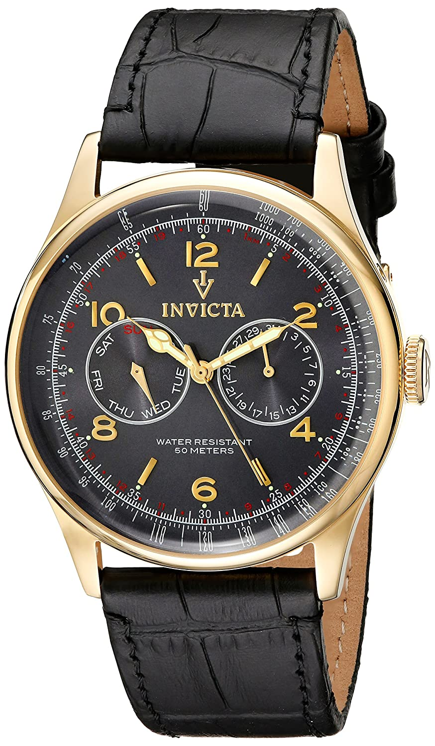 Amazon.com: Invicta Men's 6751 Vintage Collection Taupe Sunray Dial Black  Leather Watch: Invicta: Watches