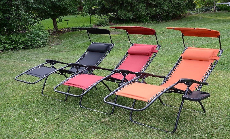 Beau Amazon.com : Deluxe Padded Zero Gravity Chair With Canopy + Tray   Sweet  Tangerine : Garden U0026 Outdoor