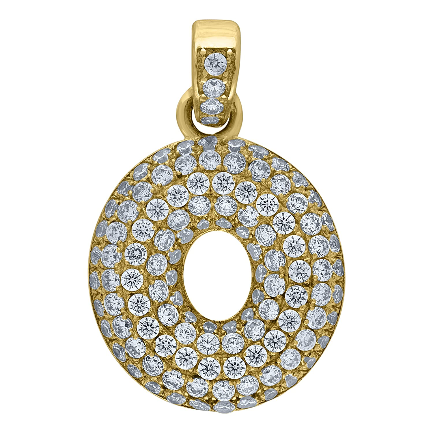 Bubble Initial LetterO Charm Pendant CZ Mia Diamonds 10kt Yellow Gold Iced Out Cubic-Zirconia
