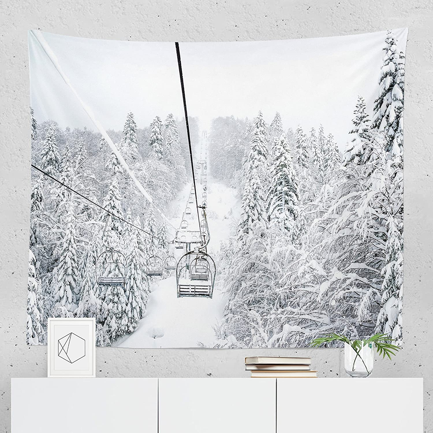 Winter Skiing Tapestry - Mountain Ski Snowy Lift Wall Tapestries Hanging Décor Bedroom Dorm College Living Room Home Art Print Decoration Decorative - Printed in the USA - Small Medium Large Sizes