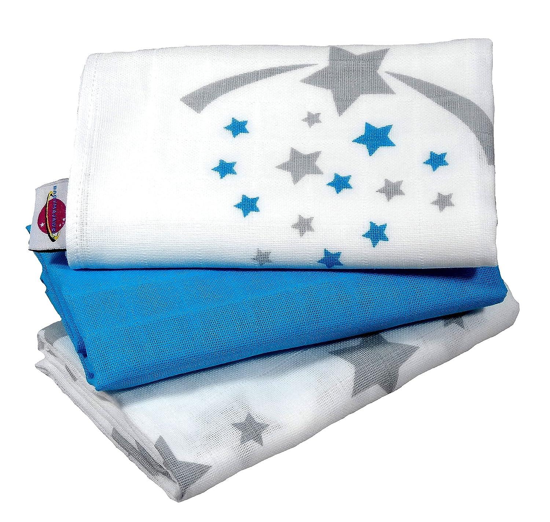 Babymajawelt® Langes en mousseline Stars/étoiles 70x70 cm - 3 pièces - pink