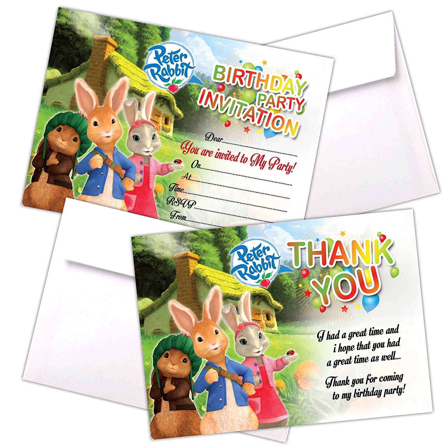 20 x Peter Rabbit | Girls Kids Birthday Party Invitations | Invites Cards | Girls Boys Children Party Cards | with C6 Envelopes Option | With Thank You Cards Option (Only Invites) Eli Belinde