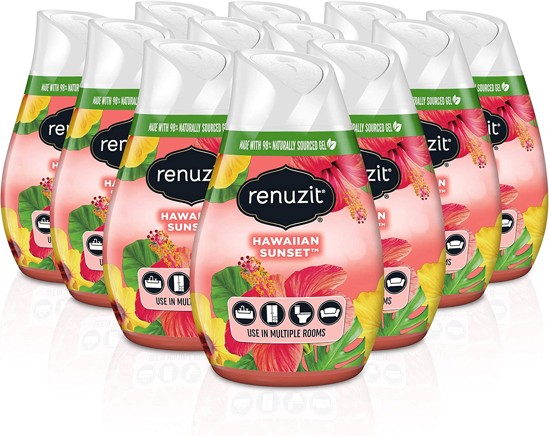 Renuzit Gel Air Freshener, Hawaiian Sunset, 3 Pack, 4 Count, 12 Total Air Fresheners