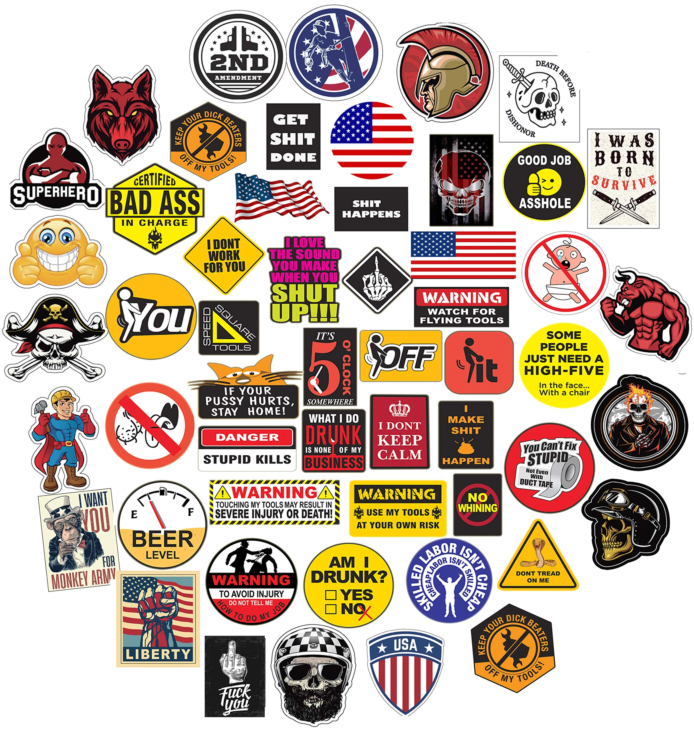 53 Pack Hardhat Funny Sticker for Tool Box Helmet Hardhat, Gifts for Adult Essential Worker Welder Construction Union Military Electrician Vinyl Decal