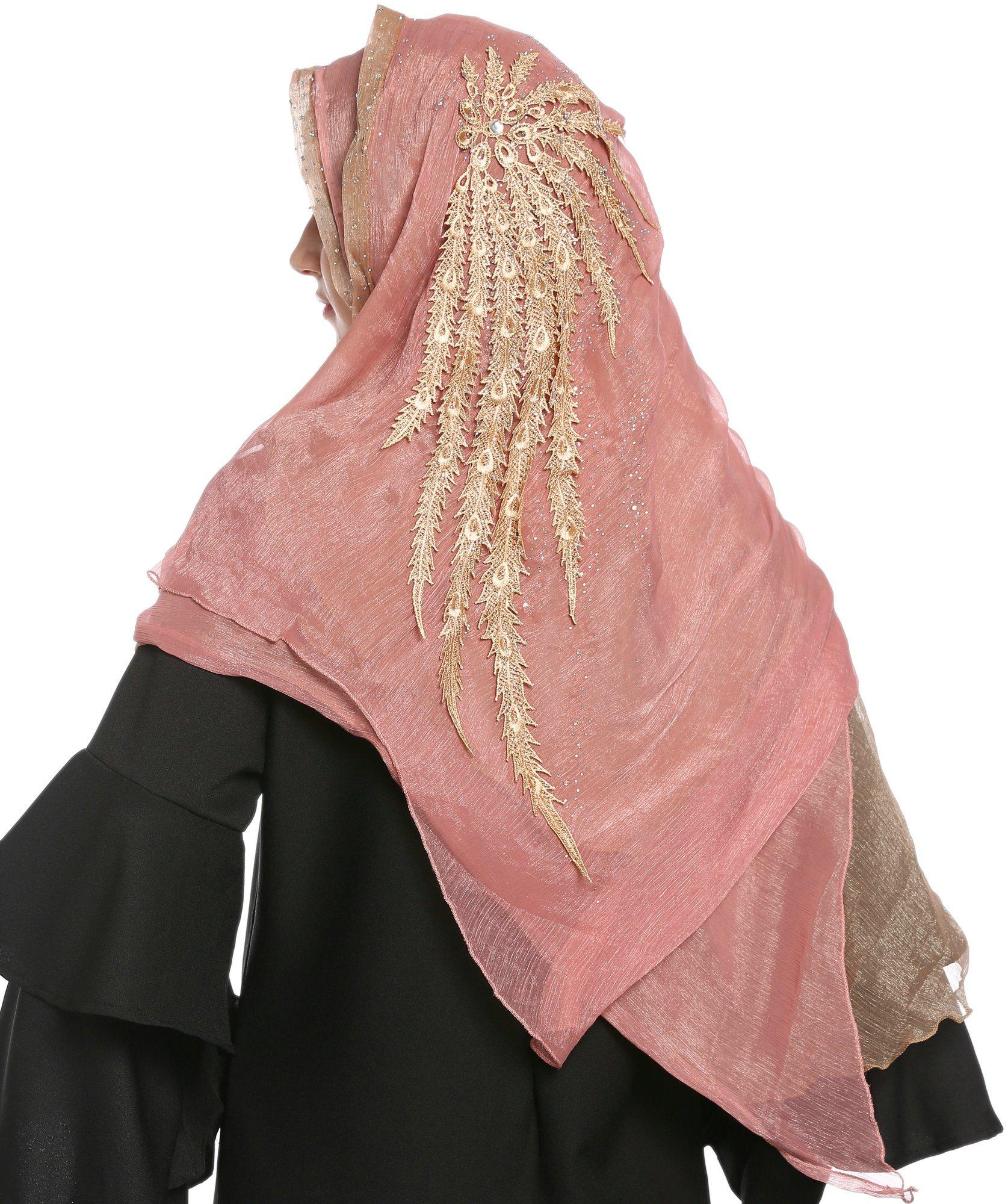 Ababalaya Lace Decorated Wedding Hijab Islamic Hijab,Color3 by Ababalaya (Image #3)