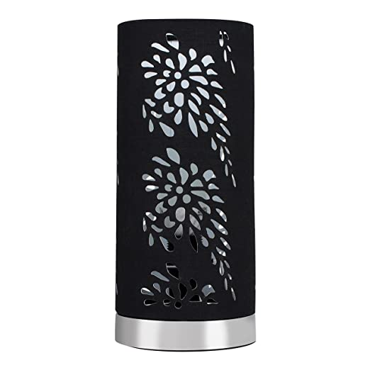 Modern silver chrome touch table lamp with a floral pattern black modern silver chrome touch table lamp with a floral pattern black fabric shade aloadofball Images