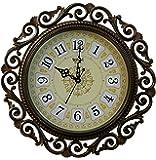 Steven Quartz Round Wall Clock Golden (1 Clock and 1 Battery)