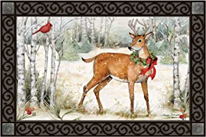 Studio M Woodland Christmas Fall/Winter MatMates Decorative Floor Mat Indoor or Outdoor Doormat with Eco-Friendly Recycled Rubber Backing, 18 x 30 Inches
