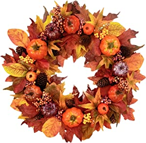 22 inches-Fall-Wreath for Front-Door-Decor- Handcrafted Boxwood Base- Ideal for Autumn & Halloween & Thanksgiving Day