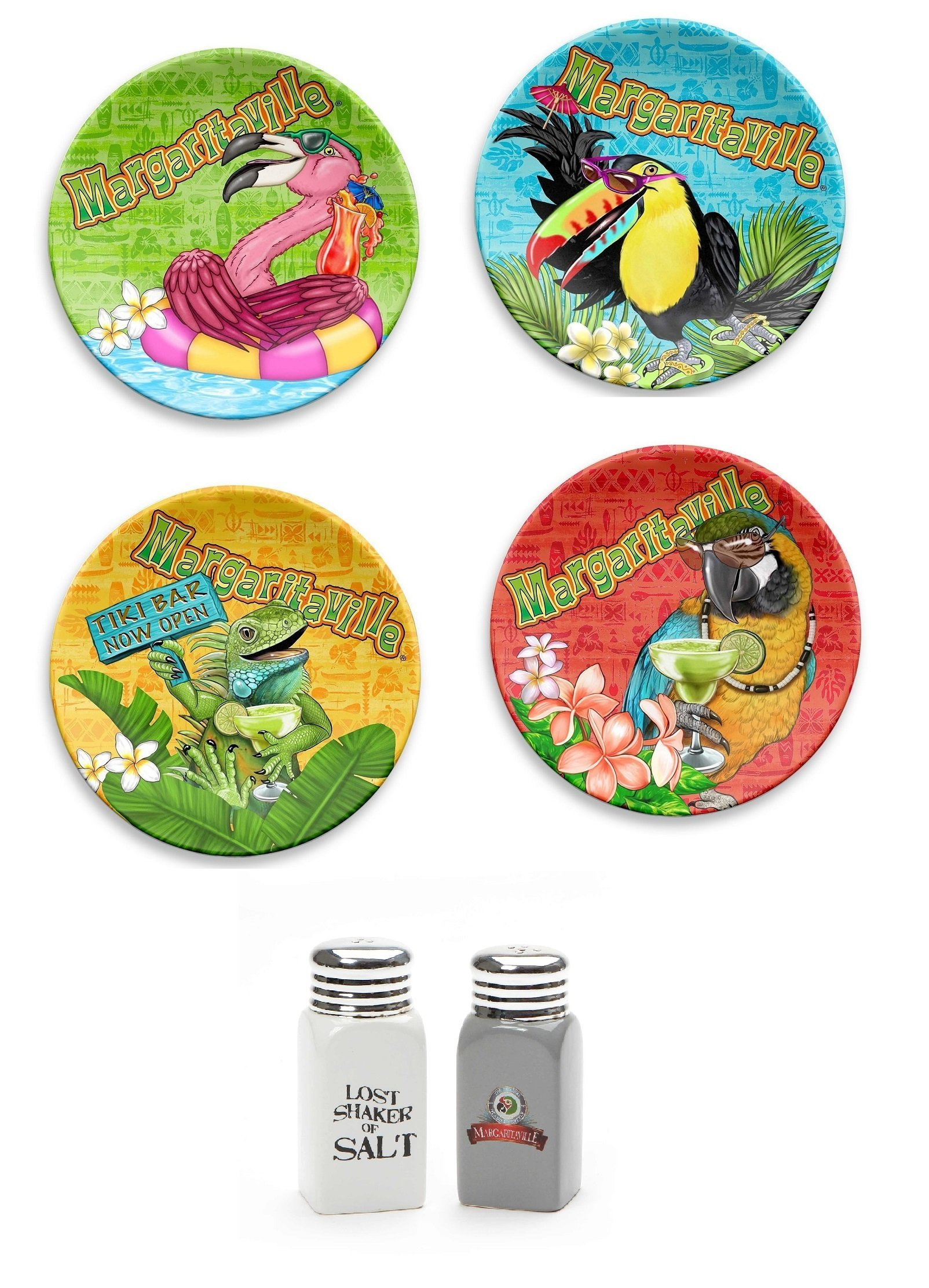 Margaritaville Snack Plates bundle with Lost Shaker of Salt and Pepper Shakers