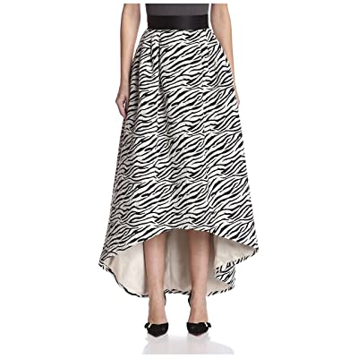 A.B.S. by Allen Schwartz Women's Jacquard High Low Skirt, Black/Ivory, 0 at Women's Clothing store