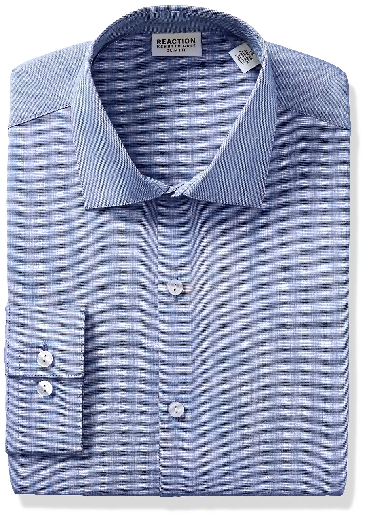 Kenneth Cole Reaction Men's Technicole Slim Fit Stretch Solid Spread Collar Dress Shirt , Indigo, 17'' Neck 34''-35'' Sleeve by Kenneth Cole REACTION