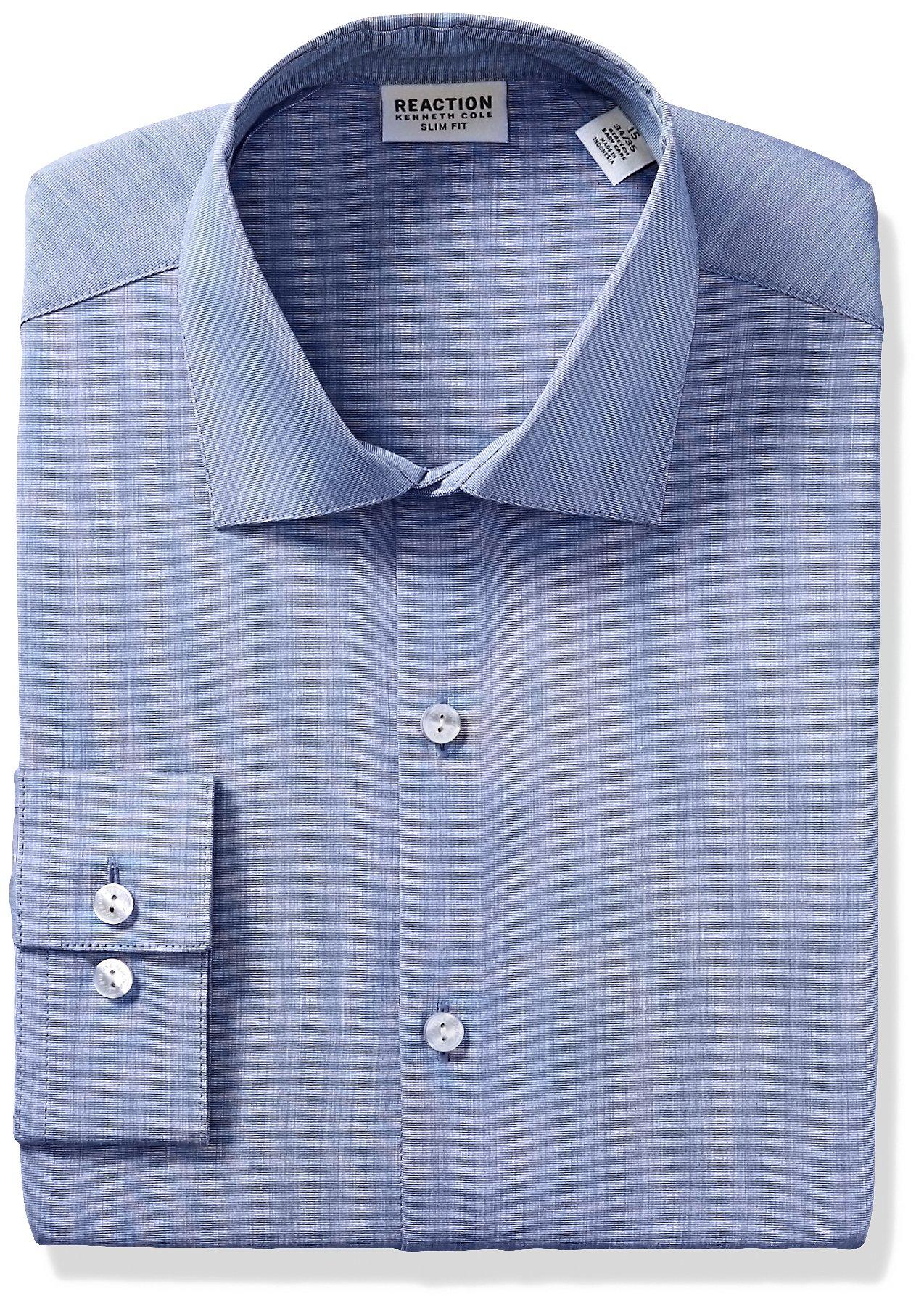 Kenneth Cole Reaction Men's Technicole Slim Fit Stretch Solid Spread Collar Dress Shirt , Indigo, 17'' Neck 34''-35'' Sleeve