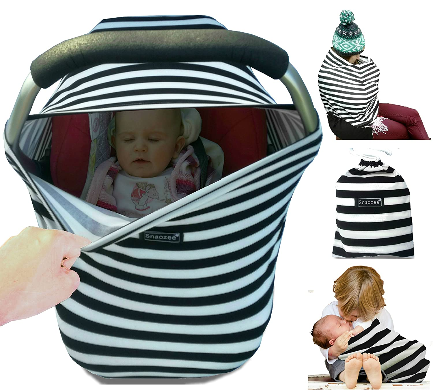 Snaozee Multi-use Nursing Cover & Baby Car Seat Canopy Best forBreastfeeding | Shopping Cart | Stroller - Premium Soft | Breathable | Stretchy | Unisex (free carry pouch) PM1001