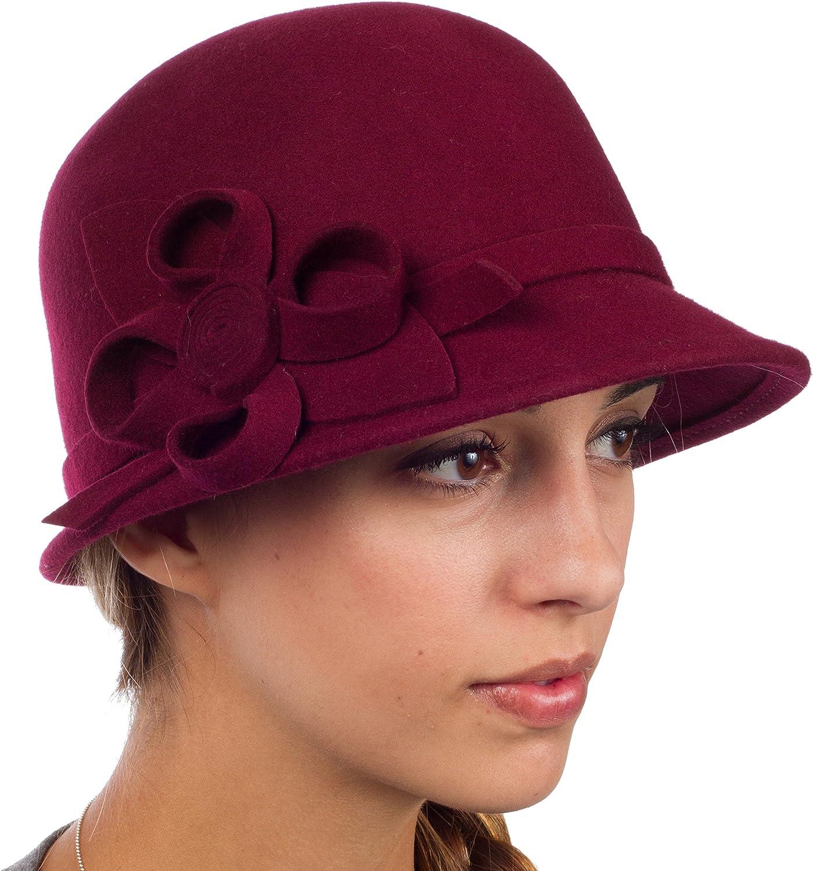 6 Farben Sakkas Frauen Jahrgang Stil100/% Wolle Topfhut Bucket Winter Hut with Ribbon Blume Akzent