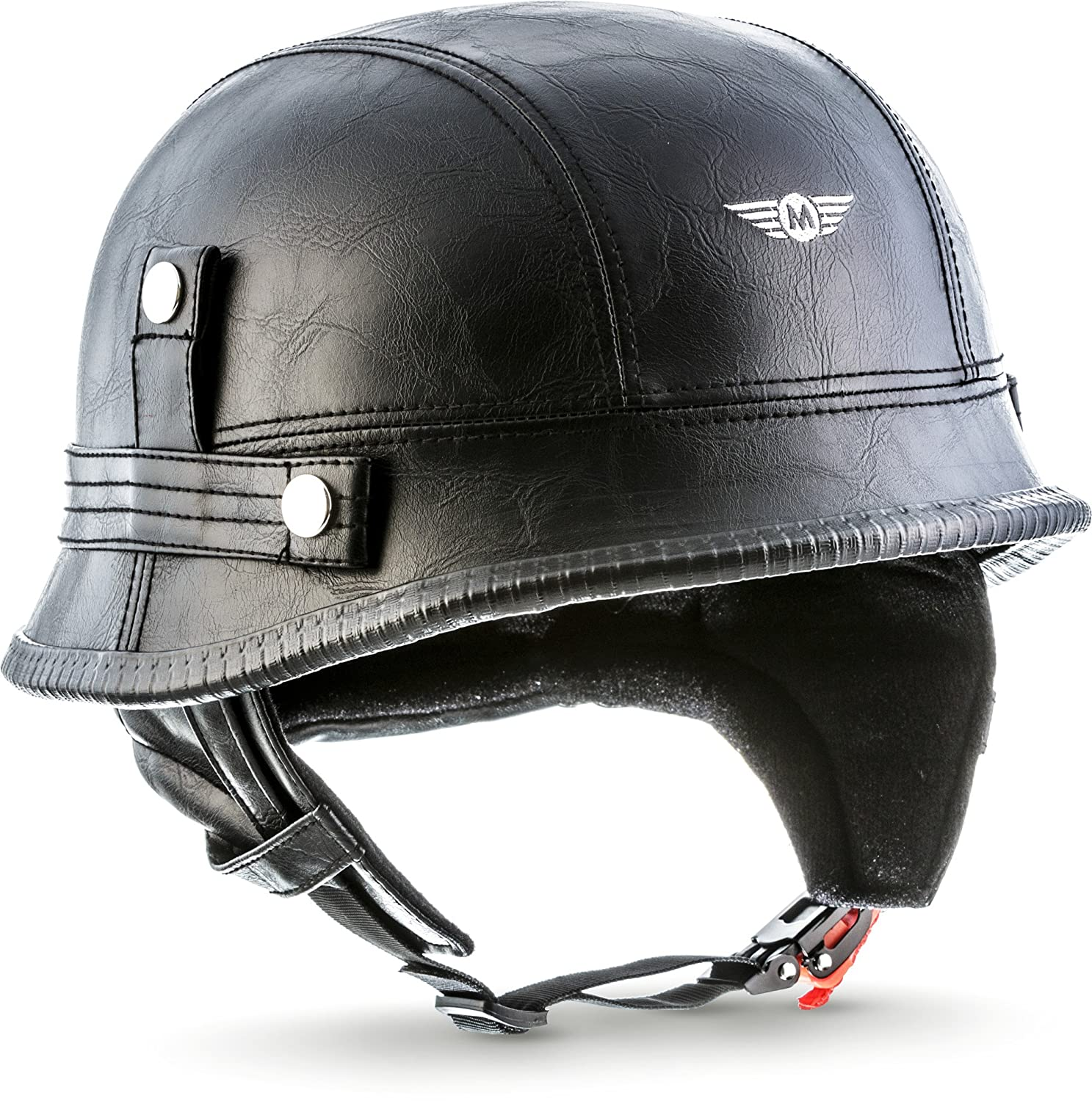MOTO HELMETS D33  –   Braincap Leather Wehrmacht Steel Half Shell Motorcycle Vespa Scooter Jet Bobber Helmet Pilot Cruiser Vintage Moped Chopper Helmet Biker Retro, Including Fabric Bag D33_LEATHER-BLACK_XXL