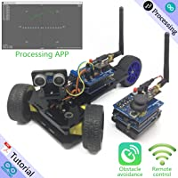 Freenove Three-wheeled Smart Car Kit for Arduino Enhanced | Beginner Learning | UNO R3 MEGA NANO MICRO | Detailed Tutorial | 3 Modes | Robot RC Wireless 2.4G Servo Ultrasonic