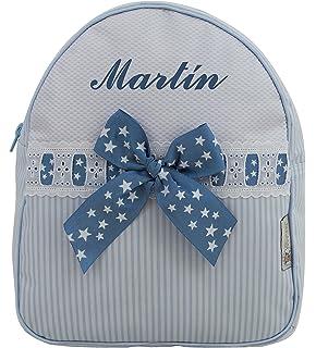 Mochila o Bolsa Infantil lencera Personalizada con Nombre en plastificado Rayas Celeste y pasacintas de Estrellas