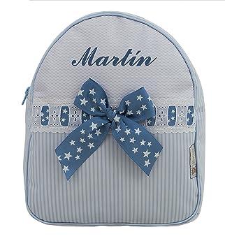 9154c8a18 Mochila o Bolsa Infantil lencera Personalizada con Nombre en plastificado  Rayas Celeste y pasacintas de Estrellas: Amazon.es: Equipaje