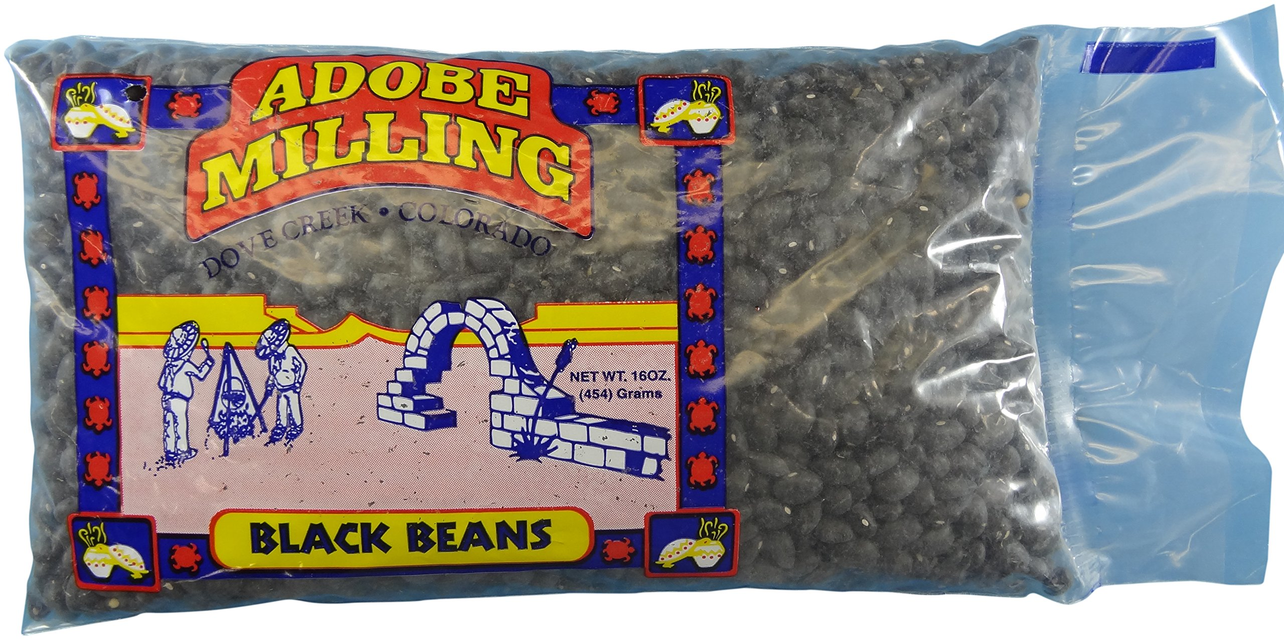 Adobe Milling Dried Black Turtle Beans, 16 oz (Pack of 6) by Adobe Milling