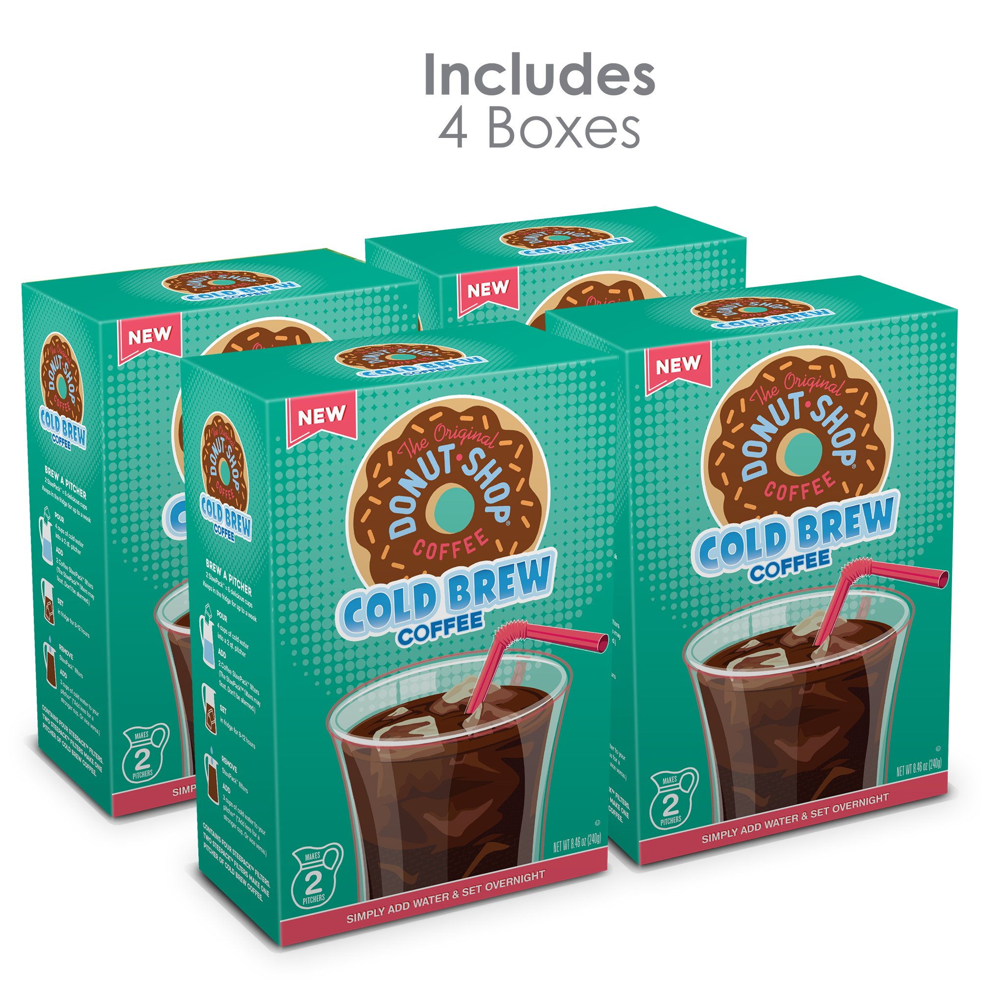 The Original Donut Shop, Cold Brew Coffee, Coarse Ground, Makes 8 - 48oz.  Pitchers of Real Cold Brew Coffee, (4 boxes of 4 filters total of 16 SteePack Filters)