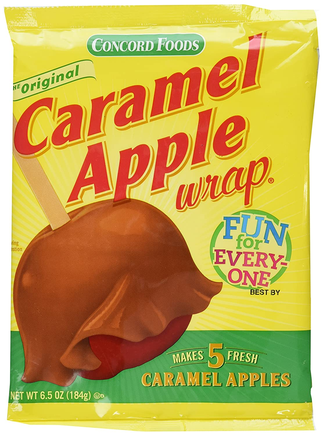 Amazon Com Concord Caramel Apple Wrap 6 05 Oz Package Value 3 Pack Makes 15 Fresh Caramel Apples Caramel Candy Grocery Gourmet Food