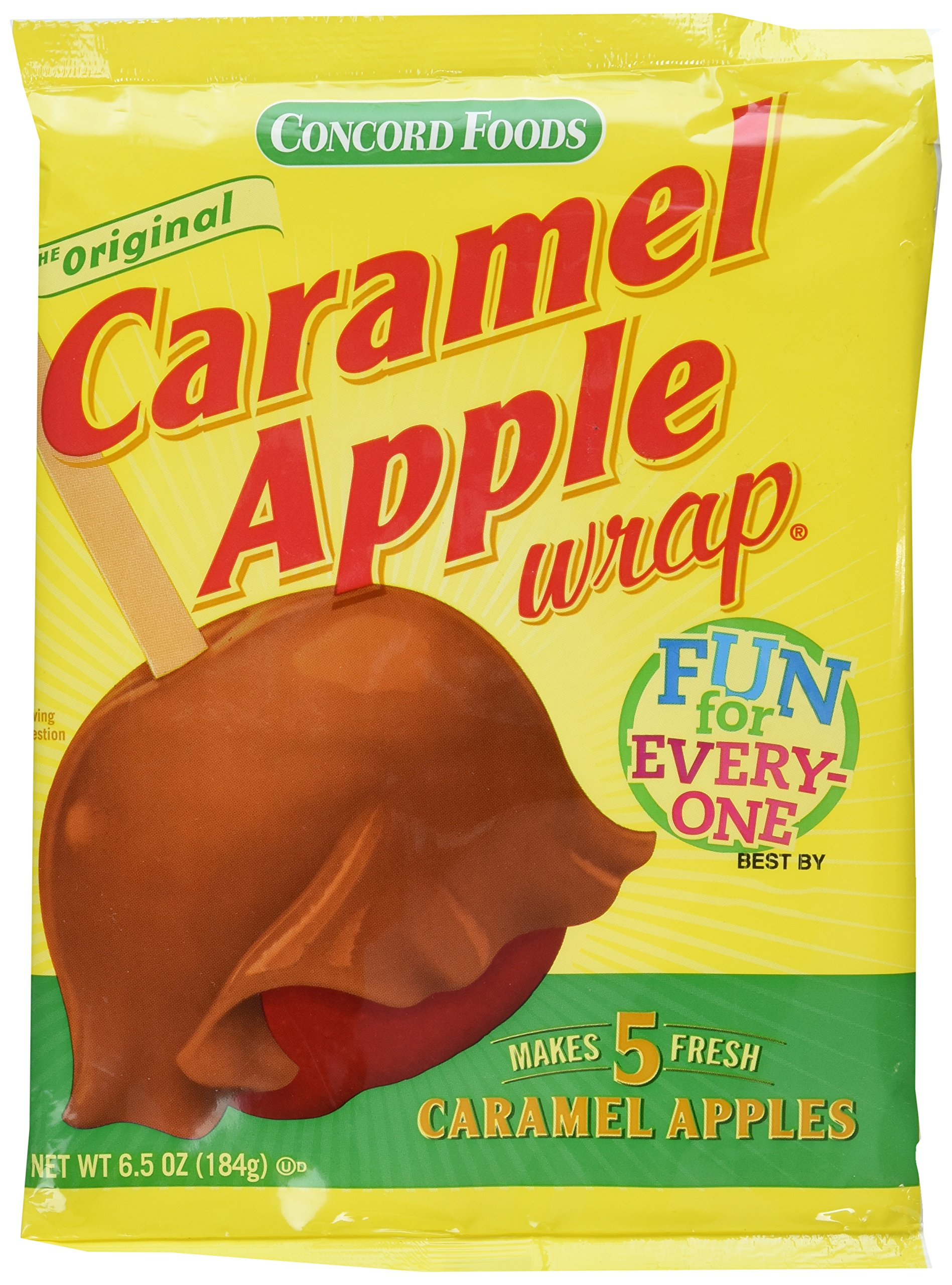 Concord Caramel Apple Wrap 6.05 oz Package (Value 3 Pack - Makes 15 Fresh Caramel Apples) by Concord Foods