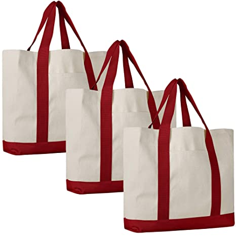 f689fc173f12 Pack of 3 - Heavy Duty Cotton Canvas Twill Travel Tote Bags Large Thick  Reusable Blank