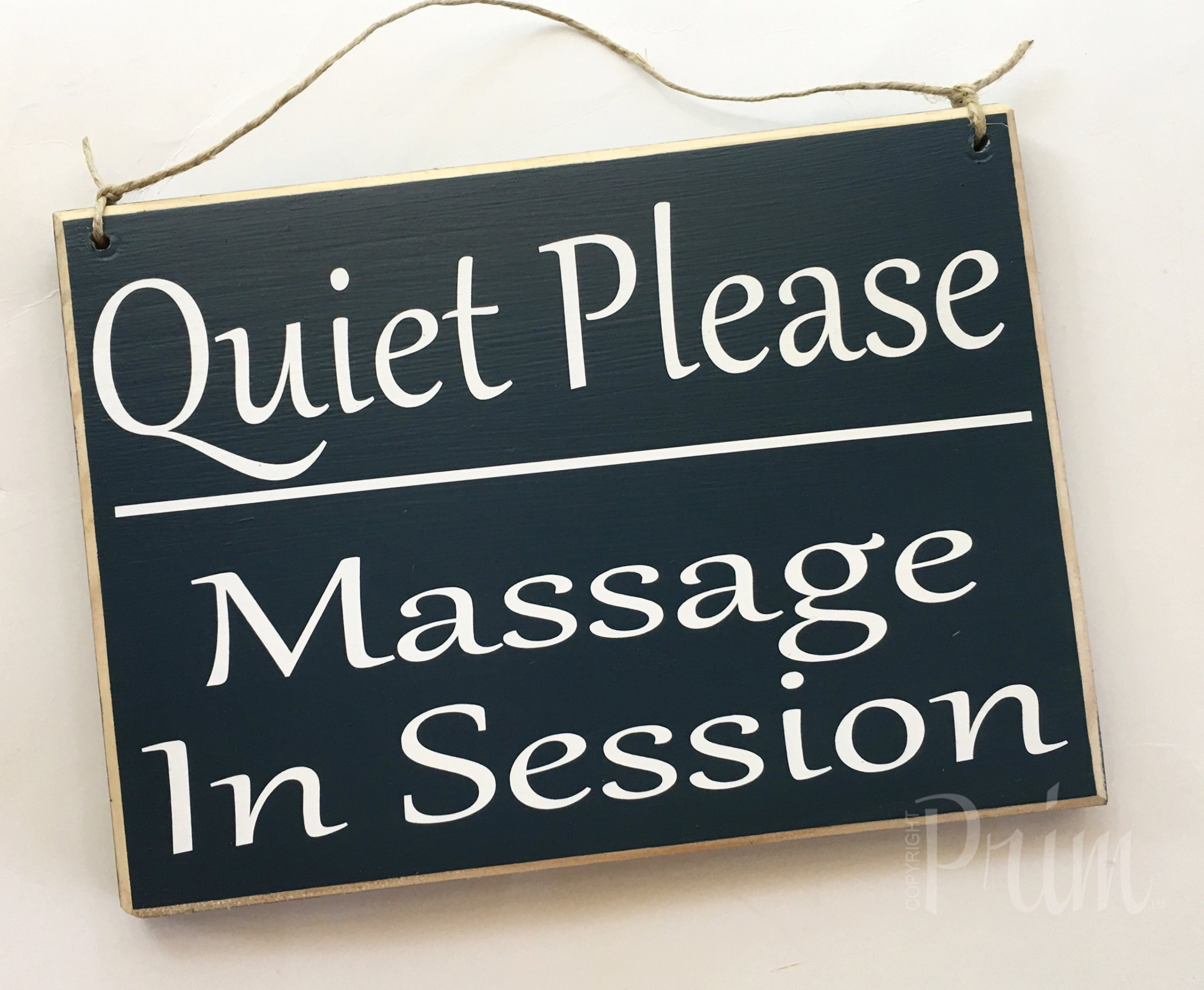 Quiet Please Massage In Session 10x8 (Choose Color) Custom Salon Spa Shhh In Progress Door Wood Sign