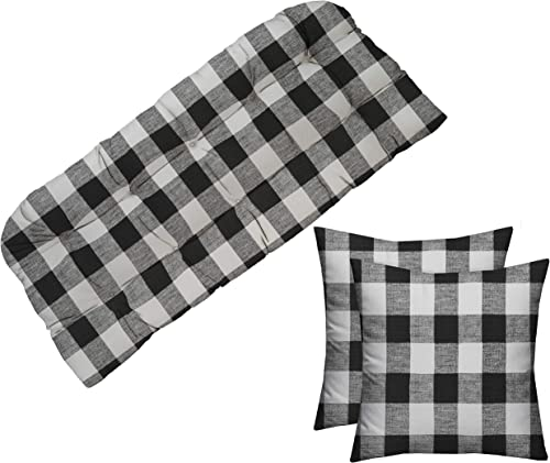 RSH D cor Indoor Outdoor Tufted Cushion for Wicker Loveseat Settee Bench Black Buffalo Plaid 41 L x 19 D and Pillow Set