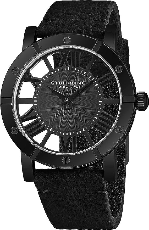 Stuhrling Original Mens Watch Leather Strap - Swiss Quartz Ronda Mvmt - Sports Watch - 881 Watches for Men Collection