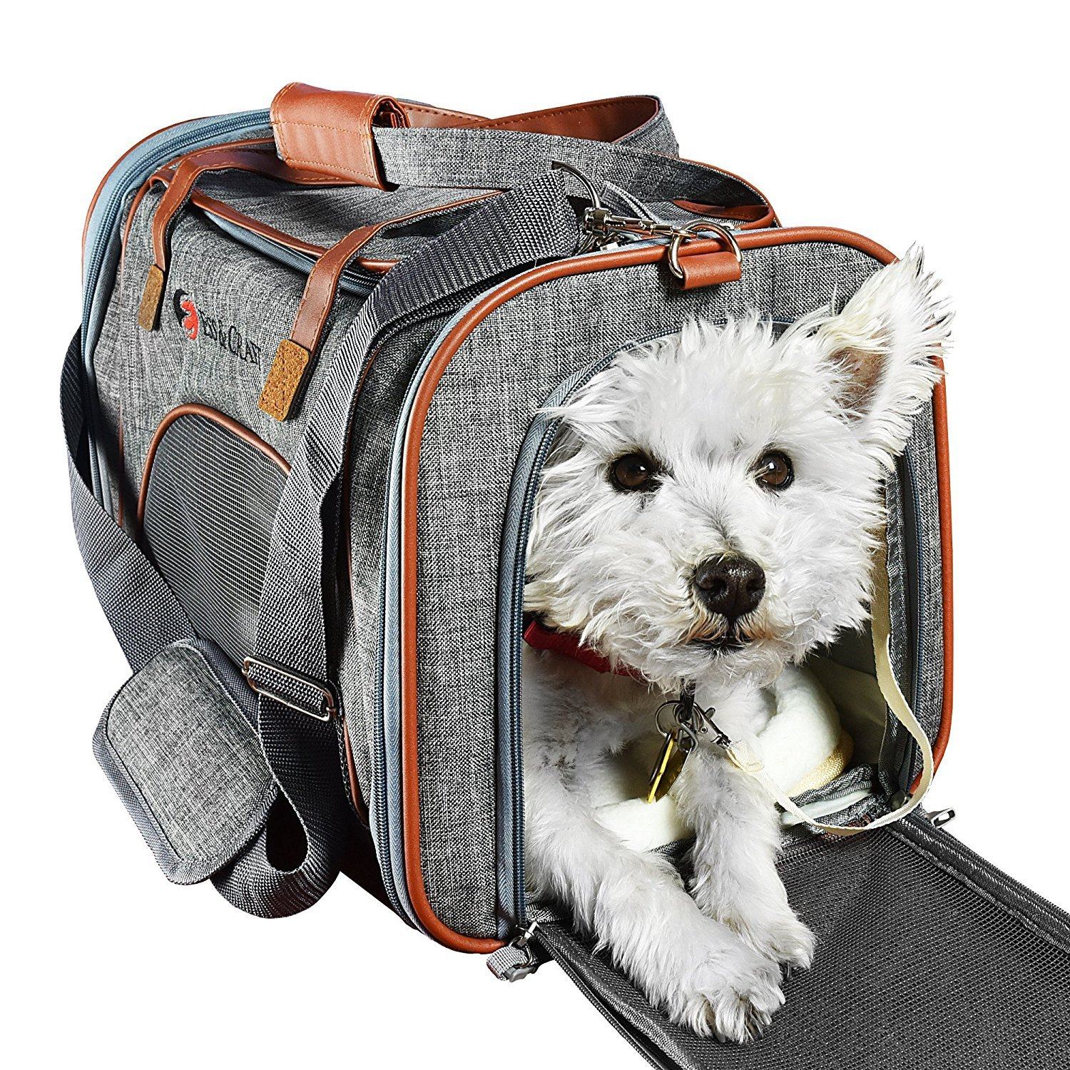 E Ess & Craft Ess And Craft Pet Carrier Airline Approved | Side Loaded Travel Bag With Sturdy Bottom & Fleece Cushion | Ventilated Pouch With Faux Leather Top Handle & Zipper Locks | For Dogs Cats Small Pets